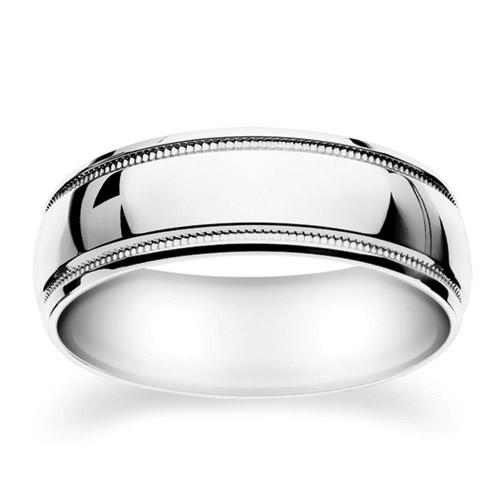 Milgrain Wedding Ring In Platinum 7mm: 14K White Gold Milgrain Wedding Ring 7mm (#GR62M7WG