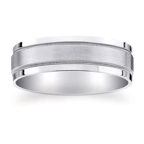 Milgrain Wedding Ring In Platinum 7mm: PLATINUM 950 Design Wedding Ring 7mm (#GR12N7PT)