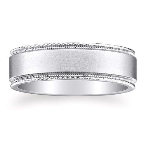 Milgrain Wedding Ring In Platinum 7mm: PLATINUM 950 Design Wedding Ring 7mm (#GR17B7PT)