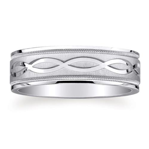 Milgrain Wedding Ring In Platinum 7mm: PLATINUM 950 Design Wedding Ring 7mm (#GR8E7PT)